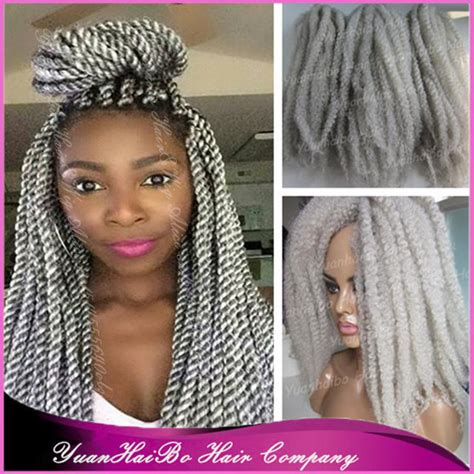 silver grey marley hair stock 20 quot folded gray afro kinky twists synthetic silver