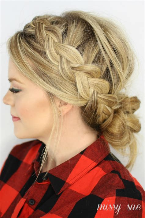 side bang braid hairstyles dutch braids and low messy bun this messy bun is to