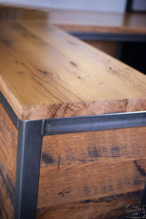 reclaimed wood reception desk reclaimed wood steel reception desk real industrial