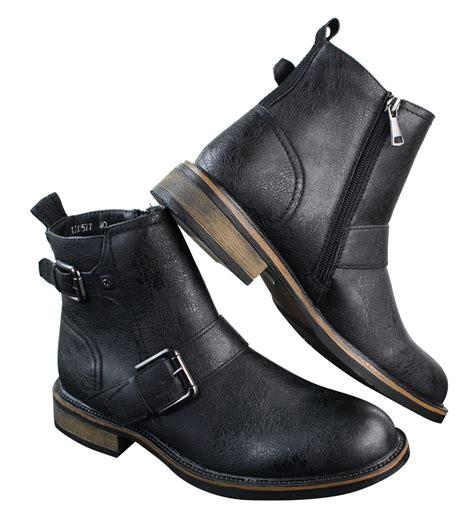 slip on biker boots mens punk rock goth elmo ankle slip on zip cowboy biker