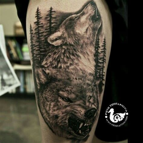black and gray wolf custom tattoos