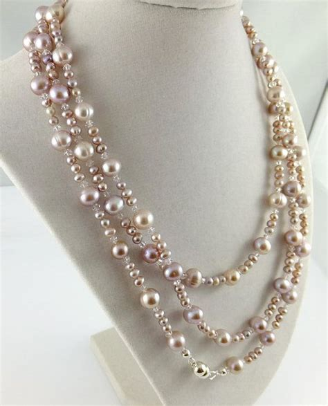 Kn69842 Kalung Choker Flying Pearl Pink pink freshwater pearl jewelry necklace earrings rope length sterling magnetic clasp