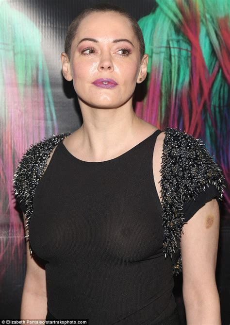 43 years old actress rose mcgowan forgoes support in skintight sheer top at art