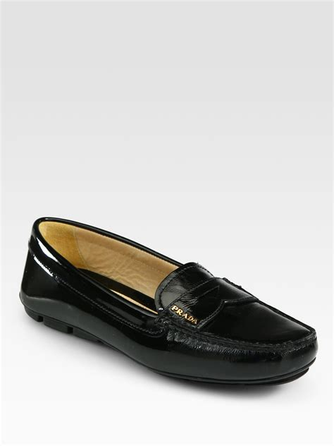 patent leather loafer prada patent leather loafers in black lyst