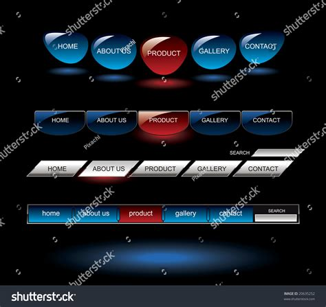 Editable Glossy Website Buttons Template Stock Vector Illustration 20635252 Shutterstock Button Website Template