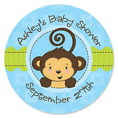 Monkey Baby Shower by Blue Monkey Boy Personalized Baby Shower Sticker Labels