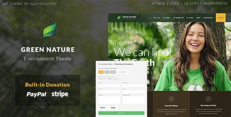 themes related to nature green nature environmental non profit wp theme by