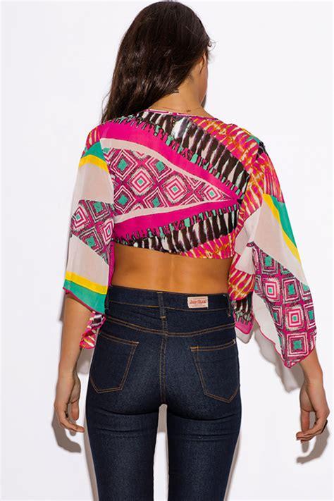 1015 Lorein Abstract Layer Mini Dress shop multi color ethnic print bell sleeve chiffon tie