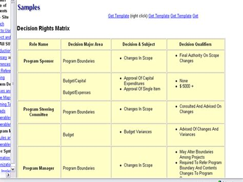 decision rights matrix template defining program governance and structure