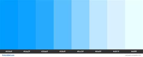 blue hex color blue shades palette hex colors 009dff 0da2ff 26abff