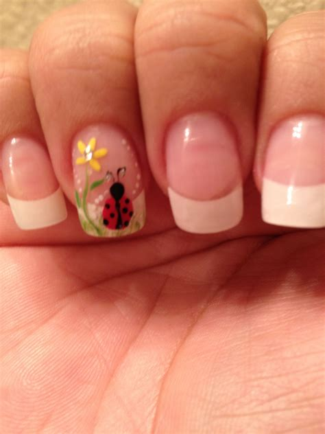 Standar Manicure standard manicure with ring finger accent bug sunflower floral flower easy free