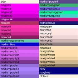 Colour Shades With Names by Named Colors