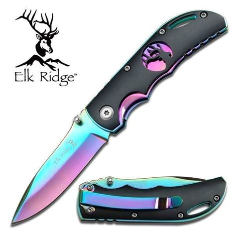 what makes a pocket knife elk ridge folding pocket knife folder rainbow multi
