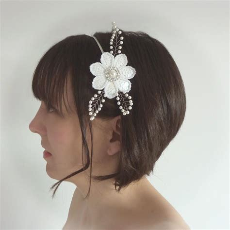 Pearl Wedding Hair Accessories Uk by White Bridal Headband Pearl Flower Hair Accessories