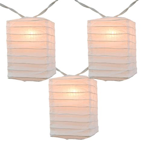 Box Shaped White Paper String Light Lanterns Mini Paper White Paper Lantern String Lights