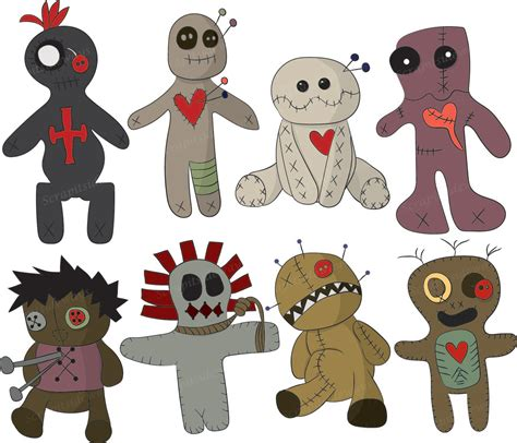voodoo doll clipart set of 8 voodoo dolls digital clipart images vg