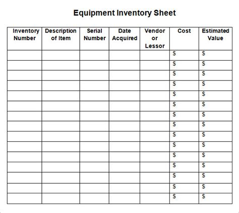 8 Sle Inventory Sheets Sle Templates Inventory Template Sheets