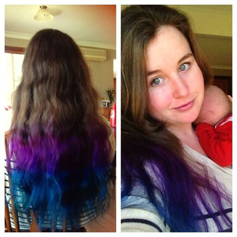 dyed hairstyles for brunettes dip dye hair blue and purple on natural brunette hair