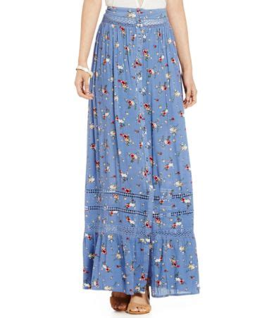 pepper floral printed button front pleated maxi skirt