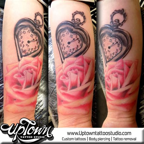 uptown tattoo studio tattoo artists in leicester le3 5ge rose and heart shaped pocket watch tattoo by