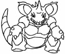 Pokemon Coloring Page 034 Nidoking Pages sketch template