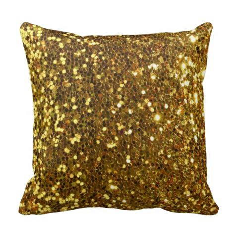 Gold Sparkle Pillow by Gold Golden Glitter Dust Sequins Throw Pillows Zazzle