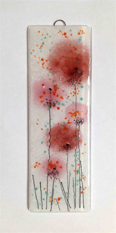 hanging glass wall decor pink coral salmon fused glass wall flower panel hanging