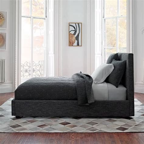 contemporary bed contemporary bed heathered tweed west elm