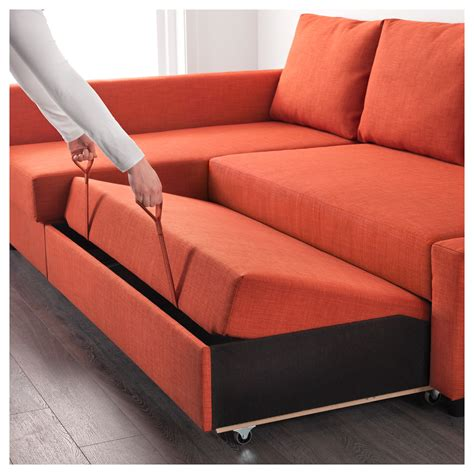 Friheten Corner Sofa Bed With Storage Skiftebo Dark Orange
