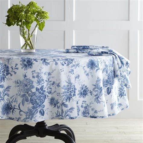 round table with white tablecloth classic blue and white round tablecloth from williams