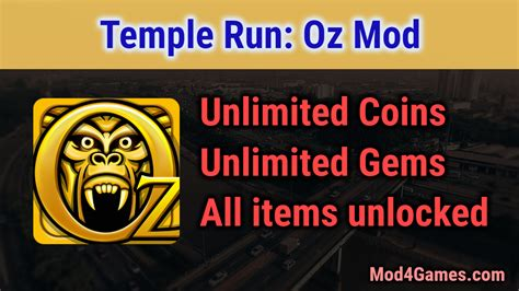 mod game temple run temple run oz mod unlimited coins gems all items