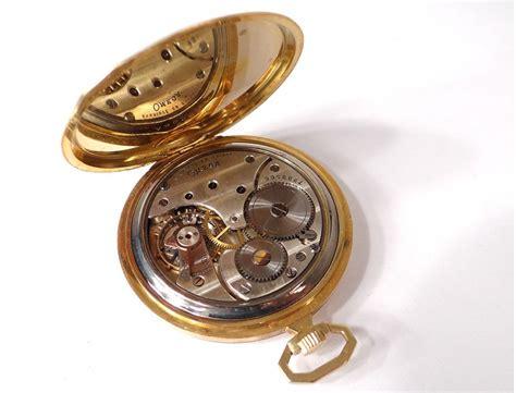 omega pocket stopwatch solid gold 18 carat deco