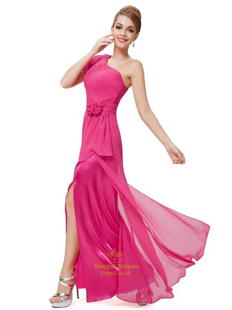 Sle Wedding Dresses Uk by Pink Chiffon One Shoulder Bridesmaid Dresses With