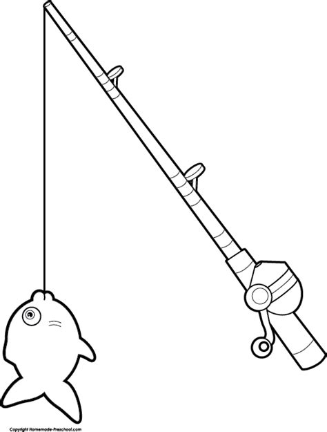 coloring page of fishing pole fishing reel coloring pages