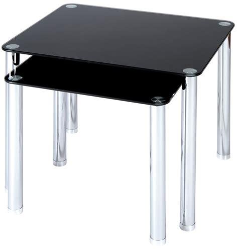Black Glass Tables Atripaldi Black Glass Nest Of Tables