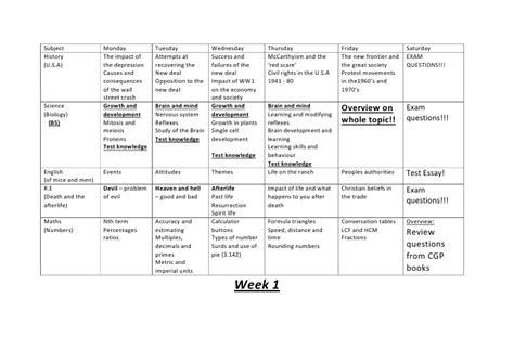 6 week revision plan