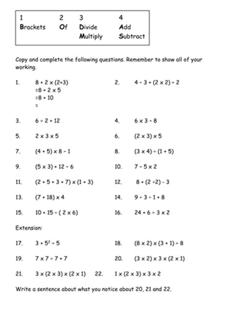 bodmas worksheets year 7 order of operations by shelleysmith27 teaching resources
