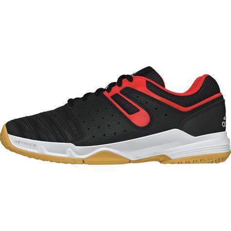 Sepatu Adidas Bulutangkis Adidas Boys Court Stabil Indoor Shoes Black Orange Tennisnuts