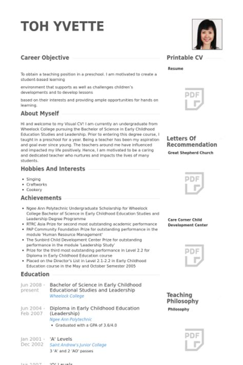 Resume Sles With Objective preschool resume sles 28 images preschool resume
