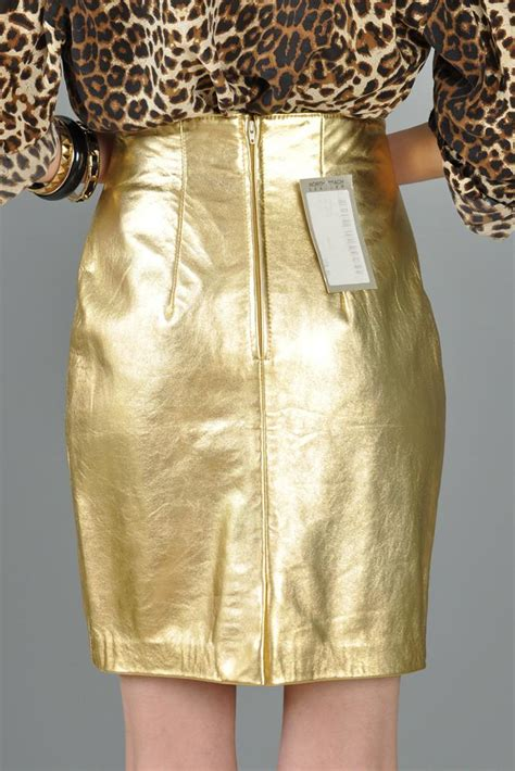 leather metallic gold high waisted skirt