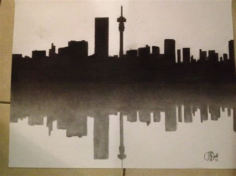 johannesburg skyline by oriel willemse i this city charcoal drawing of the johannesburg skyline south