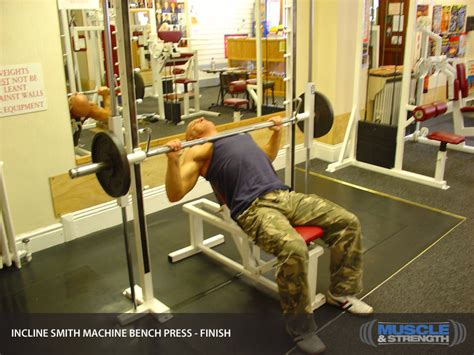 smith machine incline bench incline smith machine bench press video exercise guide