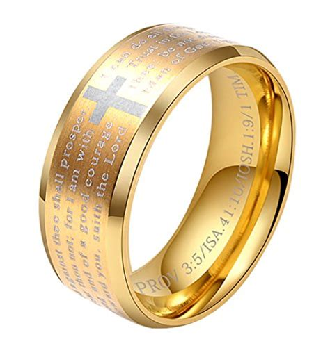 Black Titanium Christian Lord S Prayer Bible Cross Ring alextina 0525t2t070 alextina s 8mm stainless steel bible verse christian cross lord s prayer