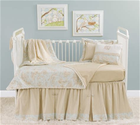 cream crib bedding doodlefish toile bumper less crib bedding blue