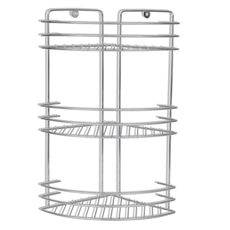 wall mounted metal shower corner shelf 3 tier www vidaxl
