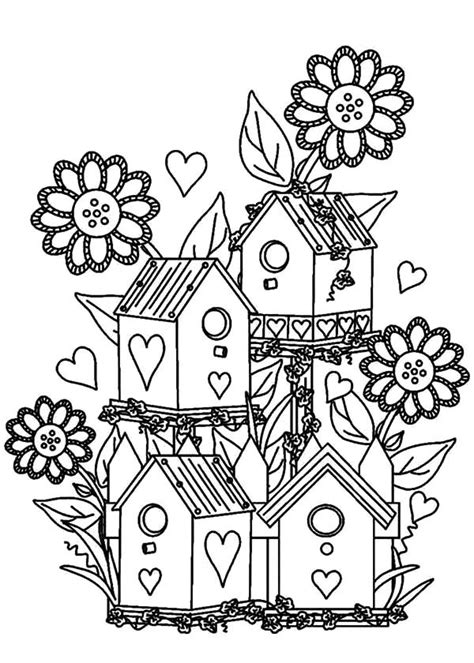 Bird Houses Adult Coloring Pages Coloring Pages Flower Garden Coloring Pages