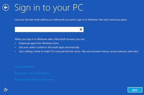 install windows 10 local account screenshots windows 8 local account or microsoft account