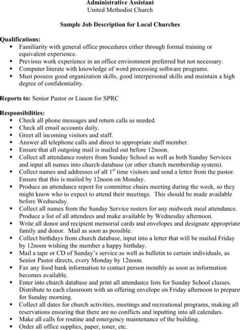 admin assistant description template word description templates for free