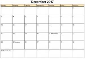Calendar 2017 December Print December 2017 Printable Calendar 171 Printable Hub