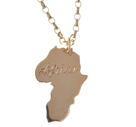 africa map pendant 9ct gold engraved map of africa pendant on a 9ct gold
